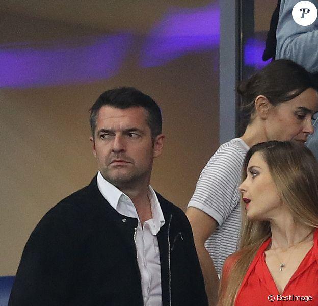 Arnaud Ducret et sa compagne Claire Francisci dans les tribunes du stade de France lors du match de ligue des nations opposant la France à l'Allemagne à Saint-Denis, Seine Saint-Denis, France, le 16 octobre 2018. La France a gagné 2-1.