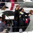 """Le prince Harry, duc de Sussex, et Meghan Markle, duchesse de Sussex, enceinte, assistent à une régate lors des """"Invictus Games 2018"""" à Sydney, le 21 octobre 2018."""