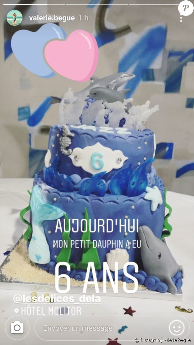 Valérie Bègue dévoile le gâteau d'anniversaire de sa fille Jazz pour ses 6 ans le 20 octobre 2018.