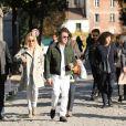 José Garcia et sa femme Isabelle Doval - Obsèques du journaliste, animateur de télévision et animateur de radio français Philippe Gildas en la salle de la Coupole au crématorium du cimetière du Père-Lachaise à Paris, France, le 5 novembre 2018.