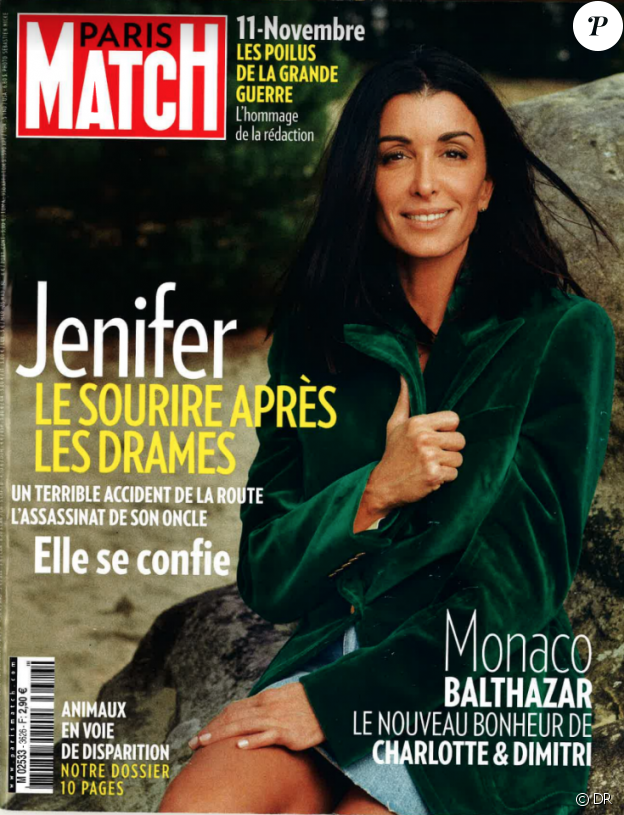 Jenifer en couverture de Paris Match, en kiosques le 8 novembre 2018.