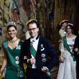 La princesse héritière Victoria de Suède et le prince Daniel lors du dîner officiel donné au palais Drottningholm à Stockholm le 13 novembre 2018 pour la visite officielle du président italien Sergio Mattarella et sa fille Laura.