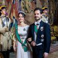 La princesse Sofia et le prince Carl Philip de Suède lors du dîner officiel donné au palais Drottningholm à Stockholm le 13 novembre 2018 pour la visite officielle du président italien Sergio Mattarella et sa fille Laura.