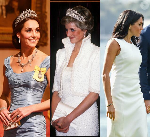 Retour sur les bijoux de Lady Diana portés par Kate Middleton et Meghan Markle.