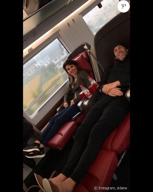 Zinédine Zidane avec son épouse Véronique dans un train en Chine. (photo postée sur Instagram le 28 novembre 2018).