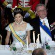 Mary de Danemark et le prince consort Henrik lors du dîner donné en l'honneur des hôtes grecs