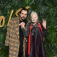Andreas Kronthaeler et Vivienne Westwood assistent aux Fashion Awards 2018 au Royal Albert Hall à Londres, le 10 décembre 2018.