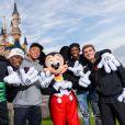 Les joueurs de l'équipe de France Paul Pogba, Kylian Mbappé, Ousmane Dembélé et Antoine Griezmann à Disneyland Paris, à Coupvray, France, le 12 octobre 2018.