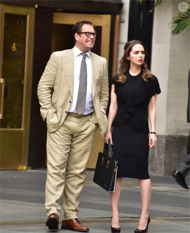 """Michael Weatherly et Eliza Dushku sur le tournage de la série télé """" Bull """" in New York Le 29 avril 2017"""