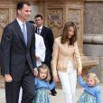 Letizia et Felipe avec leurs adorables fillettes Leonor et Sofia lors des fêtes de Pâques en 2009