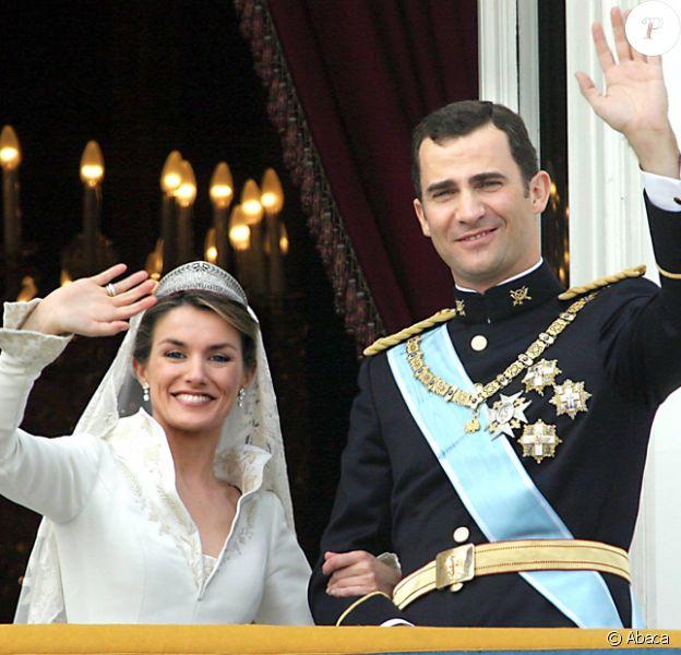 Letizia et Felipe le jour de leur mariage le 22 mai 2004