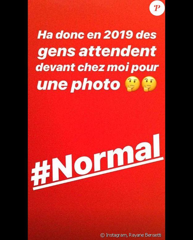 Rayane Bensetti pousse un coup de gueule sur Instagram, 3 janvier 2019