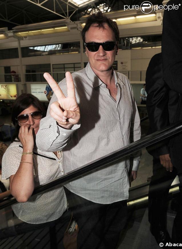 Quentin Tarantino à l'aéroport de Nice, après le Festival de Cannes, le 25 mai 2009