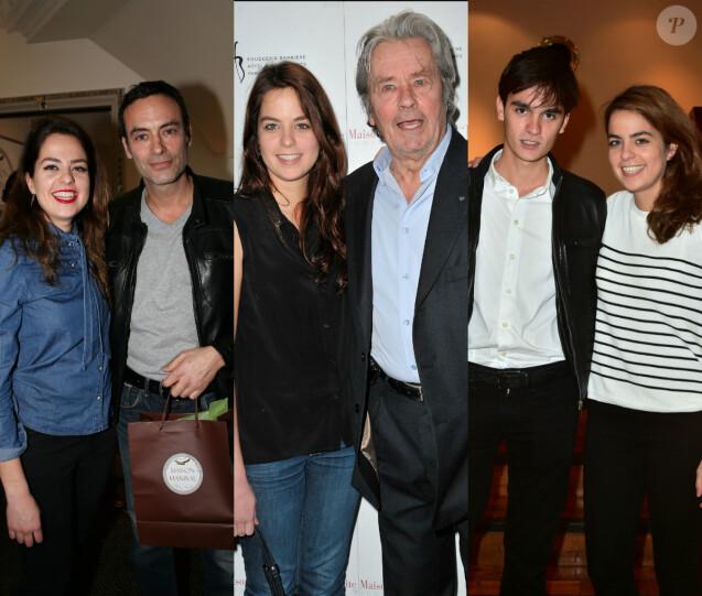 Anouchka Delon avec son père Alain Delon et ses frères Anthony et Alain-Fabien Delon.