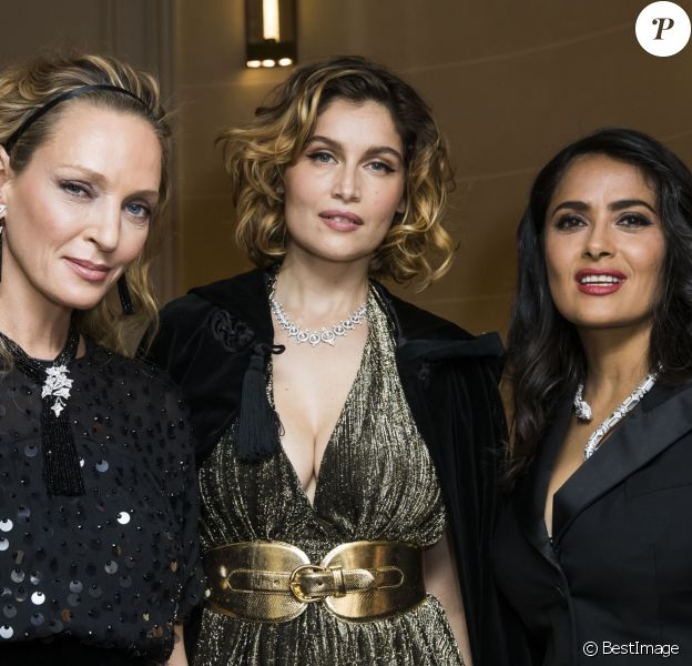 Uma Thurman, Laetitia Casta et Salma Hayek - Soirée de cocktail Boucheron Place Vendôme lors de la fashion week à Paris, le 20 janvier 2019. © Olivier Borde/Bestimage
