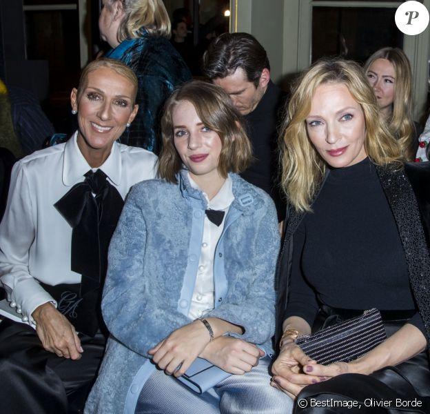 """Celine Dion, Uma Thurman et sa fille Maya Hawke en front row du défilé de mode Haute-Couture printemps-été 2019 """"Giorgio Armani Prive Haute Couture"""" à Paris le 22 janvier 2019. © Olivier Borde / Bestimage"""