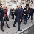 Céline Dion et Pepe Munoz sont de retour à l'hôtel, Le Crillon, à Paris, après leur visite chez Givenchy. Le 24 janvier 2019