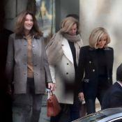 Carla Bruni-Sarkozy et Valérie Trierweiler avec Brigitte Macron à l'Élysée