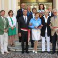 Exclusif - Mariage civil de l'actrice Macha Méril, 74 ans et du musicien Michel Legrand, 82 ans, célébré en la mairie de Monaco, le 16 septembre 2014.