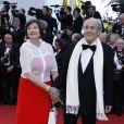 """Macha Méril et son mari Michel Legrand - Montée des marches du film """"Les Fantômes d'Ismaël"""" lors de la cérémonie d'ouverture du 70ème Festival International du Film de Cannes. Le 17 mai 2017 © Borde-Jacovides-Moreau/Bestimage"""
