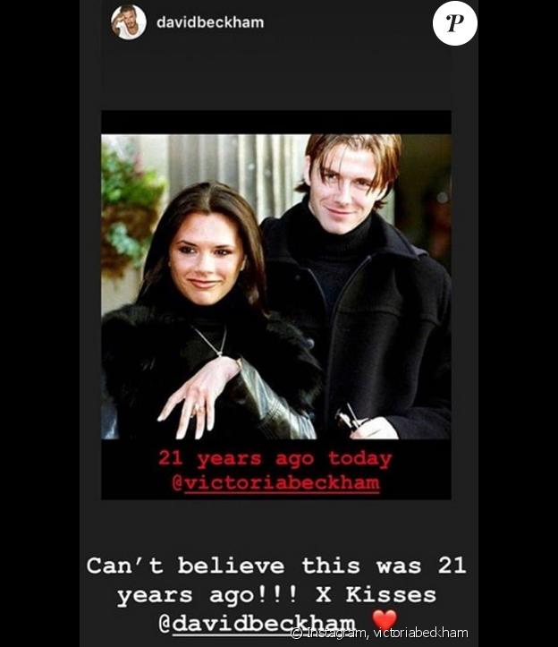 Victoria et David Beckham fêtent leurs 21 ans de fiançailles sur Instagram, le 25 janvier 2019.