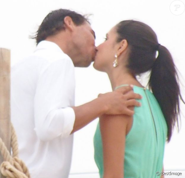 Rafael Nadal et Maria Francisca (Xisca/ Mery) Perello invités lors d'un mariage à Formentera, le 19 juillet 2014.