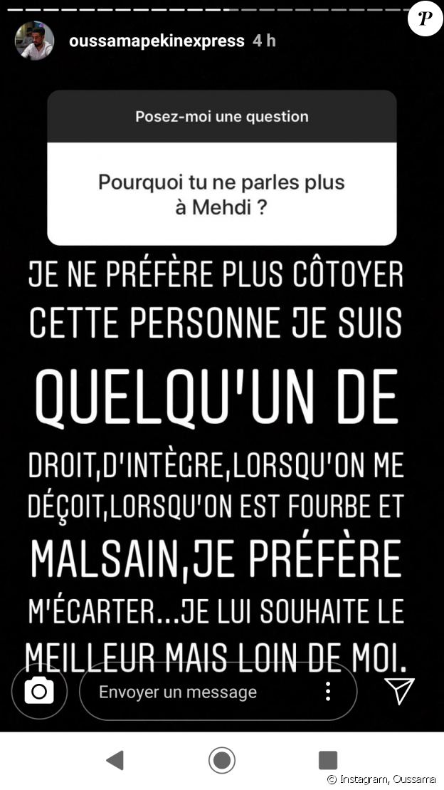 """Oussama de """"Pékin Express"""" tacle Mehdi sur Instagram, 3 février 2019"""