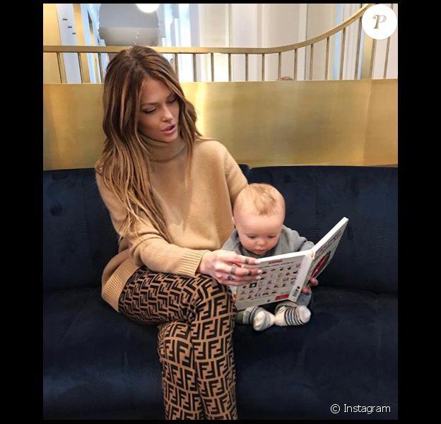 Caroline Receveur en route pour Londres avec le petit Marlon, le 6 février 2019.