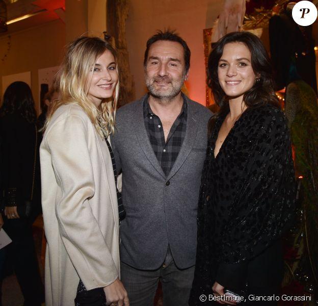 Exclusif - Gilles Lellouche, sa compagne Alizée Guinochet (à gauche) et Capucine Martin (à droite) à la présentation de la première collection de la marque MARTIN MARTIN PARIS à l'Atelier Eiffel à Paris, France, le 14 février 2019.