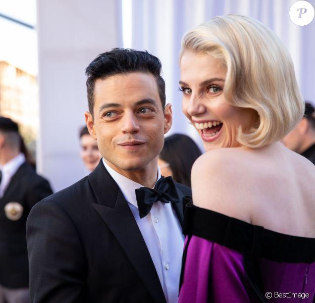 Rami Malek et sa compagne Lucy Boynton lors du photocall des arrivées de la 91ème cérémonie des Oscars 2019 au théâtre Dolby à Hollywood, Los Angeles, Californie, Etats-Unis, le 24 février 2019. © AMPAS/ZUMA Press/Bestimage