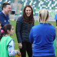Kate Catherine Middleton, duchesse de Cambridge, en visite au Windsor Park à Belfast, à l'occasion de son voyage officiel en Irlande. Le 27 février 2019