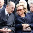 Jacques et Bernadette Chirac - Obsèques de Antoine Veil au cimetiere du Montparnasse a Paris. Le 15 avril 2013.
