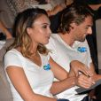Camille Lacourt et sa femme Valérie Bègue sont les parrain et marraine du 10ème anniversaire du partenariat entre Pampers et l'Unicef pour le vaccin des enfants contre le tétanos, organisé à Paris le 13 novembre 2015.