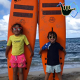 Charlie (6 ans) et Alphonse (4 ans), les enfants d'Alessandra Sublet et Clément Miserez, passent Noël en famille et à la plage, à Saint-Barthélémy, en décembre 2018.