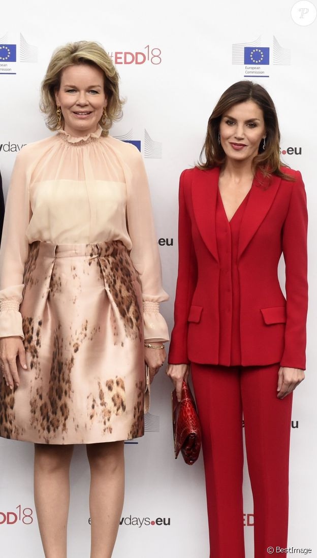 "La reine Mathilde de Belgique et la reine Letizia d'Espagne - Cérémonie d'ouverture des Journées européennes du Développement 2018 autour du thème principal ""Women and Girls at the Forefront of Sustainable Development: protect, empower, invest"" à Bruxelles. Le 4 juin 2018  Opening ceremony for the 'European Development Days' (Europese Ontwikkelingsdagen - Journees europeennes du Developpement), Monday 04 June 2018, at Tour&Taxis, in Brussels.04/06/2018 - Bruxelles"