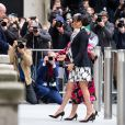 "A l'occasion de la journée mondiale du droits des femmes, Meghan Markle (enceinte), duchesse de Sussex, s'est rendue au King's College à Londres, pour participer à une discussion conjointe avec le Trust ""The Queen's Commonwealth"" à Londres. Le 8 mars 2019"