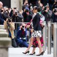 """A l'occasion de la journée mondiale du droits des femmes, Meghan Markle (enceinte), duchesse de Sussex, s'est rendue au King's College à Londres, pour participer à une discussion conjointe avec le Trust """"The Queen's Commonwealth"""" à Londres. Le 8 mars 2019"""
