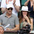 Arthur (Jacques Essebag) et sa compagne Mareva Galanter dans les tribunes lors de la finale homme des Internationaux de Tennis de Roland-Garros à Paris, le 11 juin 2017. © Jacovides-Moreau/Bestimage