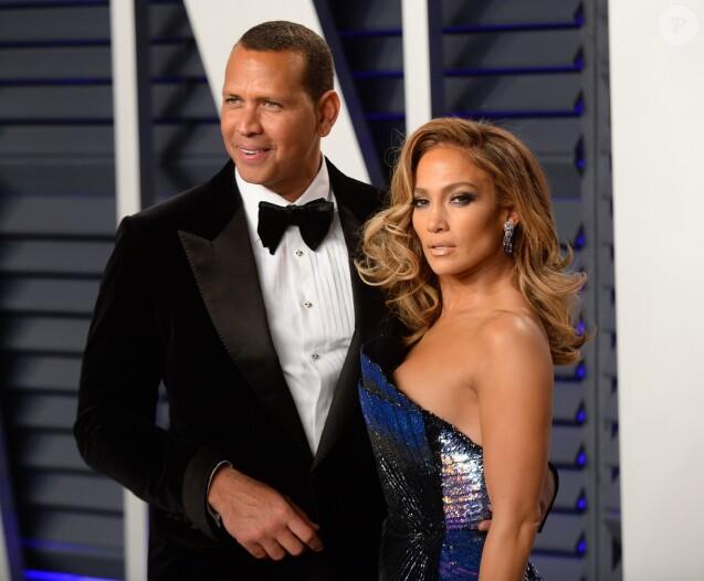 Alex Rodriguez et sa compagne Jennifer Lopez - Soirée Vanity Fair Oscar Party à Los Angeles. Le 24 février 2019.