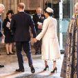 Le prince Harry, duc de Sussex, et Meghan Markle, duchesse de Sussex, enceinte - La famille royale britannique à la messe en l'honneur de la journée du Commonwealth à l'abbaye de Westminster à Londres, Royaume Uni, le 11 mars 2019.