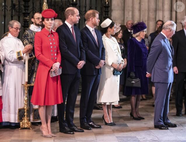Le prince William, duc de Cambridge, Catherine (Kate) Middleton, duchesse de Cambridge, le prince Harry, duc de Sussex, et Meghan Markle, duchesse de Sussex, enceinte, le prince Charles, prince de Galles, et Camilla Parker Bowles, duchesse de Cornouailles, - La famille royale britannique à la messe en l'honneur de la journée du Commonwealth à l'abbaye de Westminster à Londres, Royaume Uni, le 11 mars 2019.