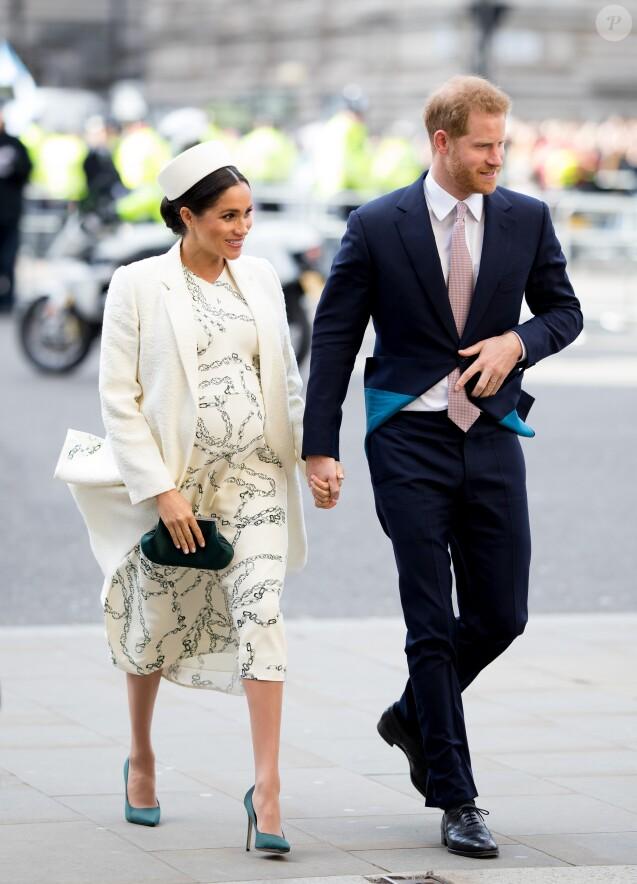 Meghan Markle, duchesse de Sussex (enceinte) et le prince Harry, duc de Sussex - Arrivée de la famille royale britannique à la messe en l'honneur de la journée du Commonwealth à l'abbaye de Westminster à Londres, le 11 mars 2019. 11 March 2019.