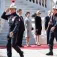 Le prince Albert II et la princesse Charlene de Monaco ont accueilli en visite d'Etat le président Chinois Xi Jinping et sa femme Peng Liyuan le 24 mars 2019 dans la cour d'honneur du palais princier à Monaco. © David Nivière / Pool / Bestimage