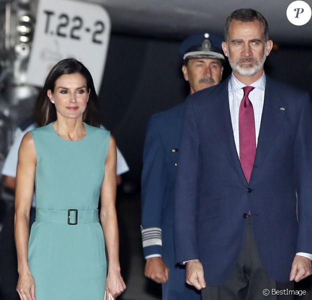 Le roi Felipe VI et la reine Letizia d'Espagne, arrivent à Buenos Aires en Argentine pour une visite d'Etat de trois jours, le 24 mars 2019.