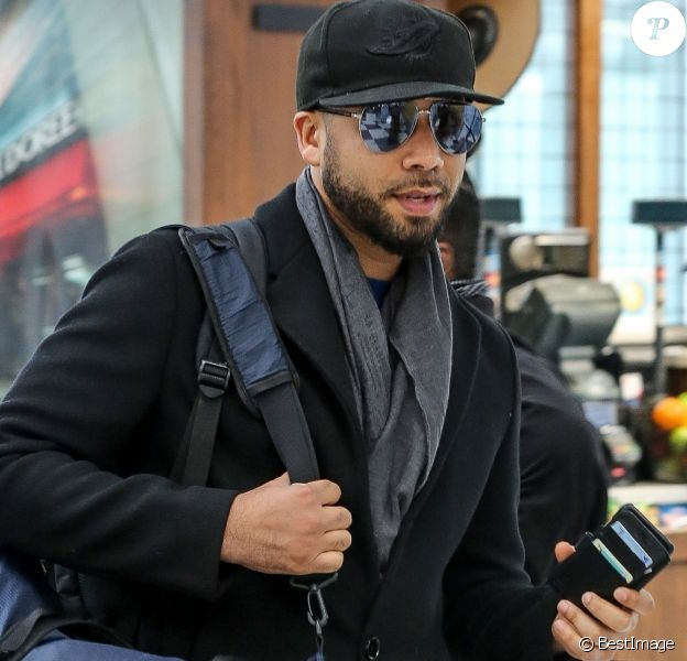 Exclusif - Jussie Smollett arrive à l'aéroport international O'Hare à Chicago. Le 27 mars 2019.