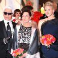 Karl Lagerfeld, la princesse Caroline de Hanovre, la princesse Charlène de Monaco, le prince Albert II de Monaco - Bal de la Rose 2014 au sporting à Monaco, le 29 mars 2014.