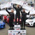 """Exclusif - Sandy Heribert, Carine Galli et Alma lors de la 2ème édition du """"Girls Charity Racing"""" dans le cadre de l'évènement """"TALON PISTE X Exclusive Drive"""" sur le circuit du Mans. """"TALON PISTE X Exclusive Drive"""" est le seul évènement automobile caritatif 100% féminin. Le principe, des marques issues de l'univers automobile, engagent une voiture. Une personnalité féminine prend le volant sur le circuit Bugatti du Mans. Leur objectif remporter la compétition afin de récolter des dons au profit de l'association pour laquelle elles courent. Les femmes engagées dans cette course « Talon Piste » prennent très au sérieux l'évènement. Elles sont en premier lieu entrainées par un coach, professionnel du pilotage. Bien préparées, elles sont ensuite notées, lors d'une finale qu'elles disputent seules. Les critères de notation reposent sur le respect des trajectoires, la qualité des freinages, le contrôle de la vitesse en courbe, ou la maitrise globale de la voiture. Un joli challenge pour des femmes qui n'ont pas froid aux yeux. Cette année, la première place du podium est revenue à Sandy Heribert (2500€ au profit de l'association Premiers de Cordée), la deuxième place à Carine Galli (1500€ au profit de l'Association Sclérose Tubéreuse de Bourneville) et la troisème place à Alma (1000€ au profit de l'association Fédération Nationale Solidarité Femmes). Le Mans, le 23 mars 2019. © Guirec Coadic/Bestimage  No Web - Belgique et Suisse23/03/2019 - Le Mans"""