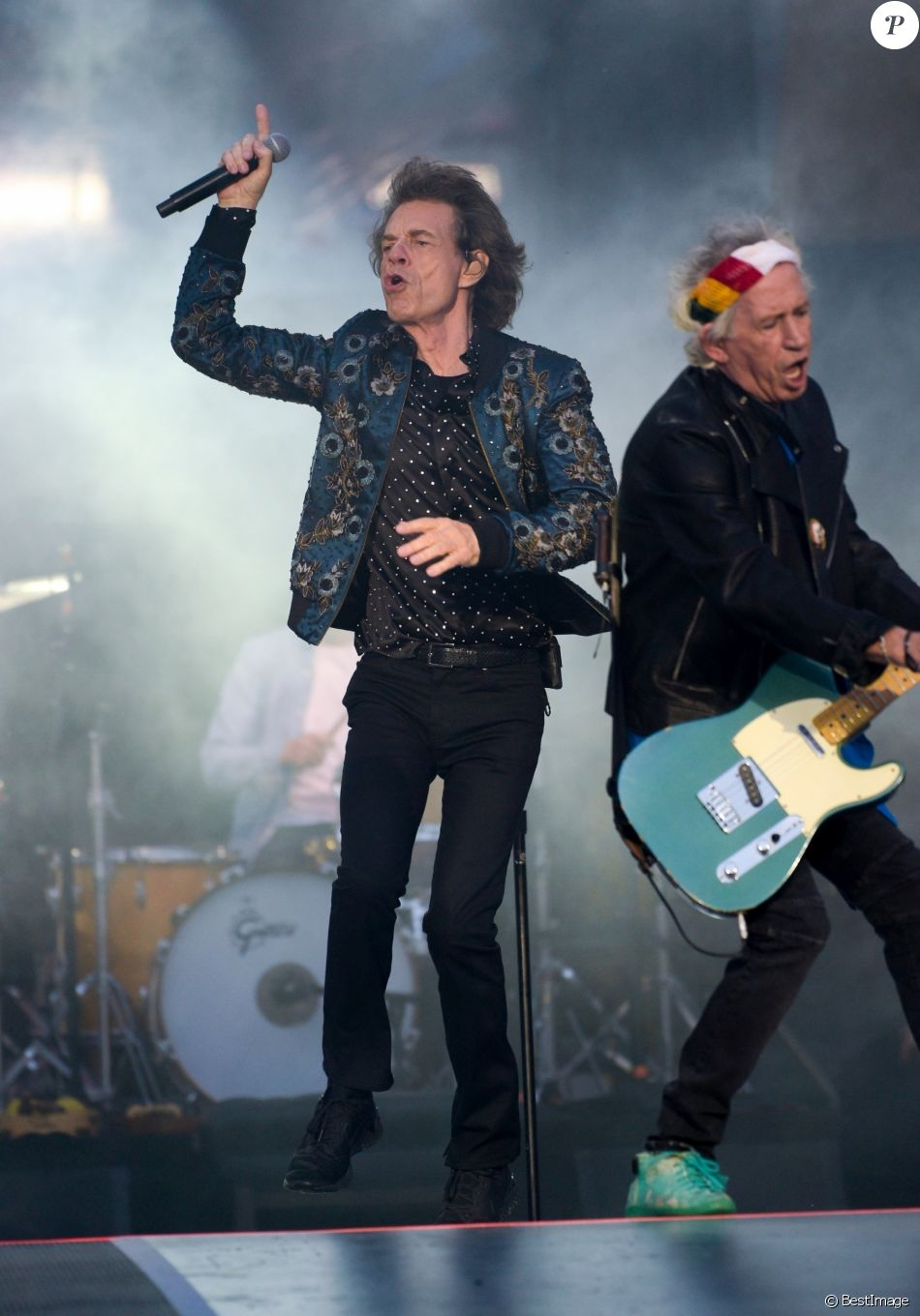"Mick Jagger, Keith Richards - Les Rolling Stones en concert à Coventry à l'occasion de leur tournée ""No Filter Tour"". Le 2 juin 2018"