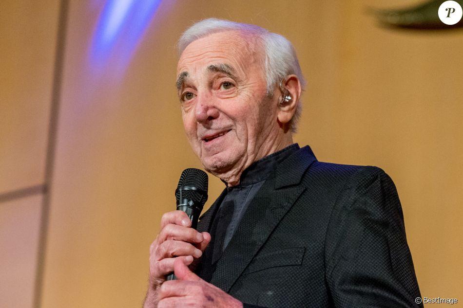 Charles Aznavour en concert à l'Office des Nations Unies à Genève. Le 13 mars 2018.