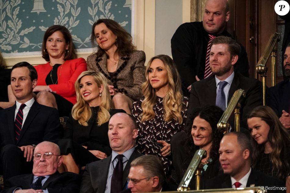 Jared Kushner, Ivanka Trump, Lara Trump, Eric Trump - Le président des Etats-Unis Donald Trump lors de son discours sur l'état de l'Union devant, Nancy Pelosi et le vice-président Mike Pence et les élus du Congrès à Washington, le 5 février 2019.